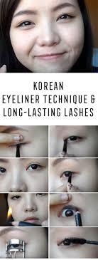 best korean makeup tutorials 2 in 1 korean eyeliner technique long lasting lashes