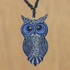 thai handmade blue ceramic owl adjule pendant necklace alluring blue owl