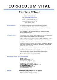 caroline o neill cv