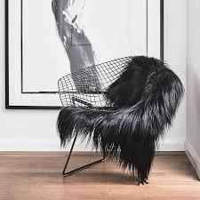 himalayan goatskin rug black