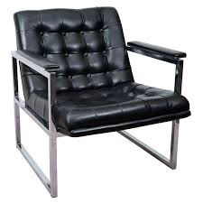 mid century black vinyl and chrome tufted chair at 1stdibs