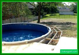 B Round Above Ground Pools Pool Deck Plans  Design Canada Cheap