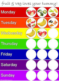Fruit And Vegetable Challenge Chart Healthy Eating Tips Printable Chart My Life Kids