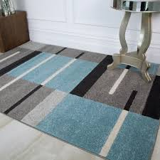 details about modern teal blue grey patchwork rugs for living room soft non shed geometric rug