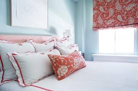 red and blue bedroom with red scalloped monogrammed bedding on red and light blue wall art with red and blue bedroom with red scalloped monogrammed bedding