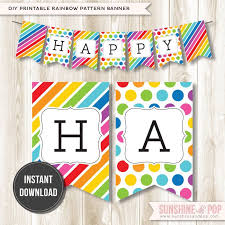 free collection of 40 free printable rainbow happy birthday banner