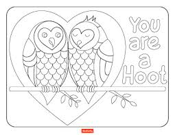 valentines coloring pages. Plain Coloring You Are A Hoot With Valentines Coloring Pages O