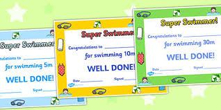 Swimming Certificates Swimming Certificates Swimming Awards Swimming