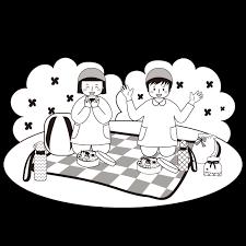 かわいい遠足 の お昼昼食無料 白黒モノクロ イラスト