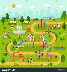 Amusement Park Design Game Flat Design Landscape Park Kids Playground Stock Vector