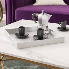 Breakfast setup 2 pax american set with 2 coffee & milk 1x large tray with inlay 2x place mats 2x napkin w/ 2x table knife 2x table fork 2x coffee spoon 2x bread knife. Mercer41 Kronqui Serving Tray Reviews Wayfair