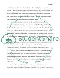 Cause And Effect Of Stress On Students In High School Or