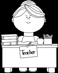 desk clipart black and white. black and white teacher sitting at a desk clipart