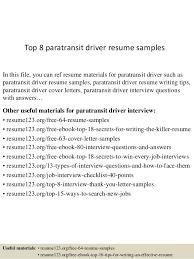 Driver Sample Cv Top 8 Paratransit Driver Resume Samples