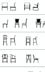 chairs elevation cad blocks