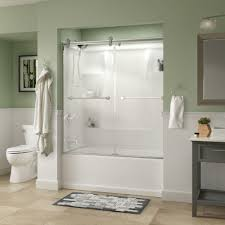 delta crestfield 60 in x 58 3 4 in semi frameless contemporary sliding bathtub door in chrome with niebla glass 810636 the home depot