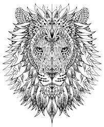Free Coloring Page Coloriage Adulte Difficile Tete Lion