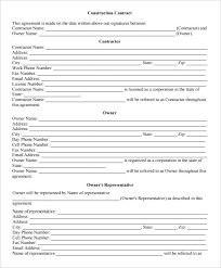 Free Construction Contract Forms Template Job Format Download