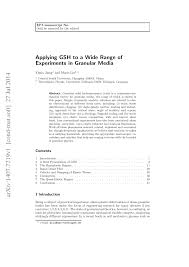 (PDF) Applying GSH to a Wide Range of Experiments in Granular ...