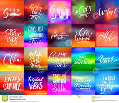 Handwritten Lettering Summer Holidays And Vacation Quotes Set Stock