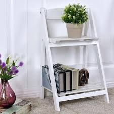 plant ladder 2 tier folding wooden flower stand pot shelf display garden outdoor diy