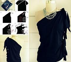 10 nice diy t shirt cutting ideas diy no sew one shoulder top from t shirt