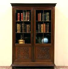 solid wood black bookcase sophisticated antique glass doors interior home beautiful bookshelf wo