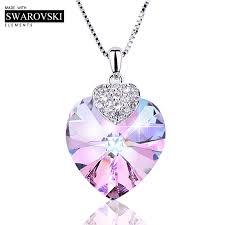 Swarovski Necklace for Women Heart Shape Amethyst Crystal ...