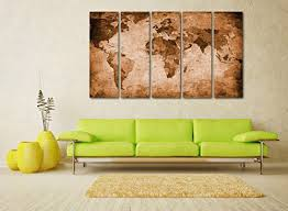 paintings for living room wallAmazoncom Canvas Wall Art Vintage World Map Canvas Prints Framed