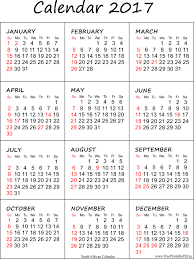 2017 printable calendar with south african holidays