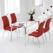 murano glass dining set with 4 calgary red chairs 6379