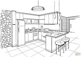 Small Picture Kitchen in Minimalist Style coloring page Free Printable
