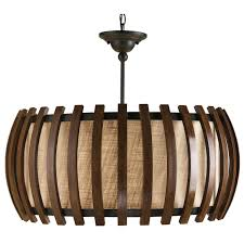 a rounded rectangular shape is accented with vertical slats of polished fruitwood that surround a co light fixtureslight pendantpendant
