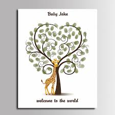 Baby Shower Thumb Print Tree With Tire Swing Guest BookFingerprint Baby Shower Tree