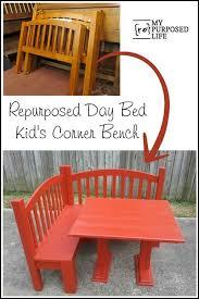 day bed repurposed into a kids corner bench for the kitchen or playroom myrepurposedlife com diy kids furniturepallet