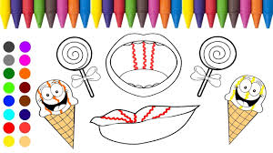 Ce Cream Lollipop And Lips Coloring Games L Coloring Book For