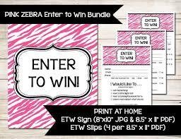 Pink Zebra Enter To Win Sign Door Prize Drawing Slip Raffle Ticket Guest Survey Contest Prize Direct Sales Vendor Event Show