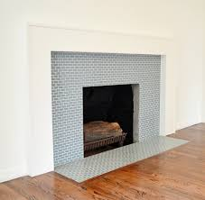ocean mini glass tile fireplace surround