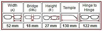 Spectacles Size Chart Eyeglasses Sizes