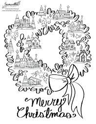 Contemporary Decoration Wreath Coloring Page Spring Floral Outline