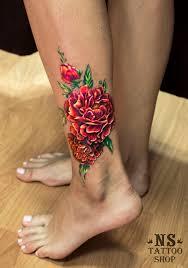 цветы тату на голени модные татуировки для девушек на ноге фото