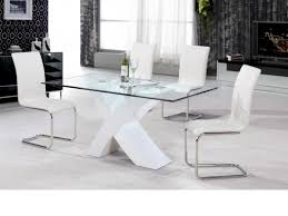 ... White High Gloss Dining Table 4 Chairs Clear Glass Homegenies For White  High Gloss Dining Table ...