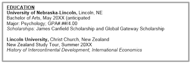 Education Section Of Resume Examples Resumes And Cover Letters Education Abroad Nebraska