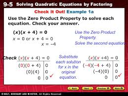 8 9 5 solving quadratic equations by factoring use the zero property to solve each equation