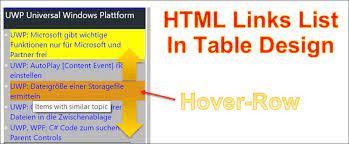 asp net create a link list with tables