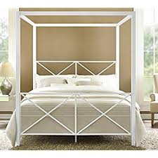 Amazon DHP Rosedale Metal Canopy Bed Queen Size White