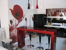 black and red kitchen designs. Black And White Kitchen Interior With Red Accents Designs E