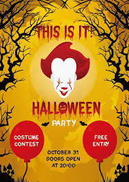 Costume Contest Flyer Template Halloween Party Flyer Poster Template Vector Free Download