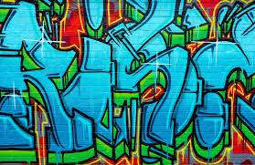 graffiti brick wall mural colourful