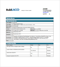 Meeting Minutes Format Example Construction Meeting Minutes Templates 9 Free Sample Example